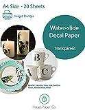 Hayes papel Co. Inyección de tinta Waterslide Decal Paper, 20hojas, tamaño A4, transparente y clara