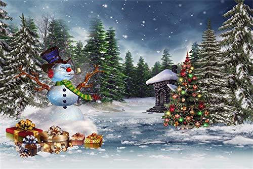 YongFoto 3x2m foto achtergrond bosjungle sneeuw ijs landschap hoed kerstbomen ballen ornamenten geschenken sneeuwman jaar fotografie achtergrond foto baby banner kinderen fotostudio