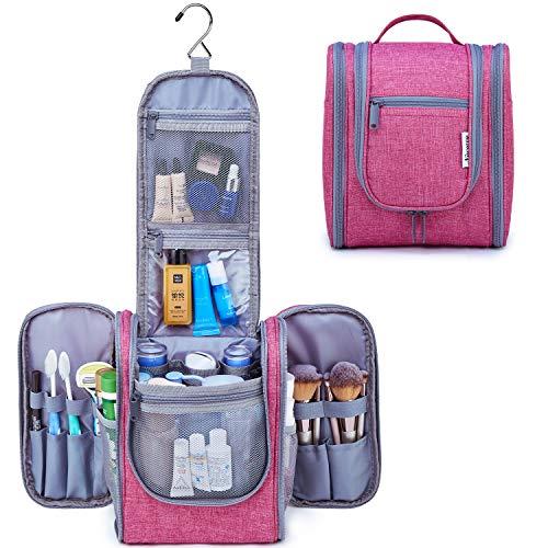 Reise Kulturtasche Zum Aufhängen Kulturbeutel Kosmetiktasche Waschtasche für Frauen Mädchen Damen (Leuchtend rosa)