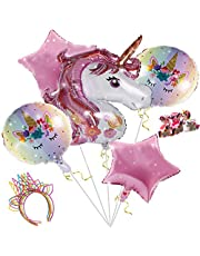 Pink Unicorn BalloonsBirthday Party Decorations - With Unicorn Headband UnicornFoil Balloons Unicorn rings Heat Foil Balloons Unicorn Theme Decor Pack For Girl