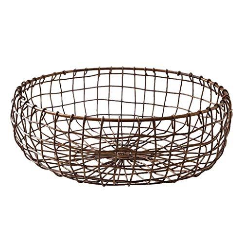 ZLININ Canasta de fruta de metal para sala de estar, cesta de fruta grande, cesta de pan, soporte de almacenamiento para frutos secos, diseño de rejilla abierta, (tamaño: 30 x 11 cm)