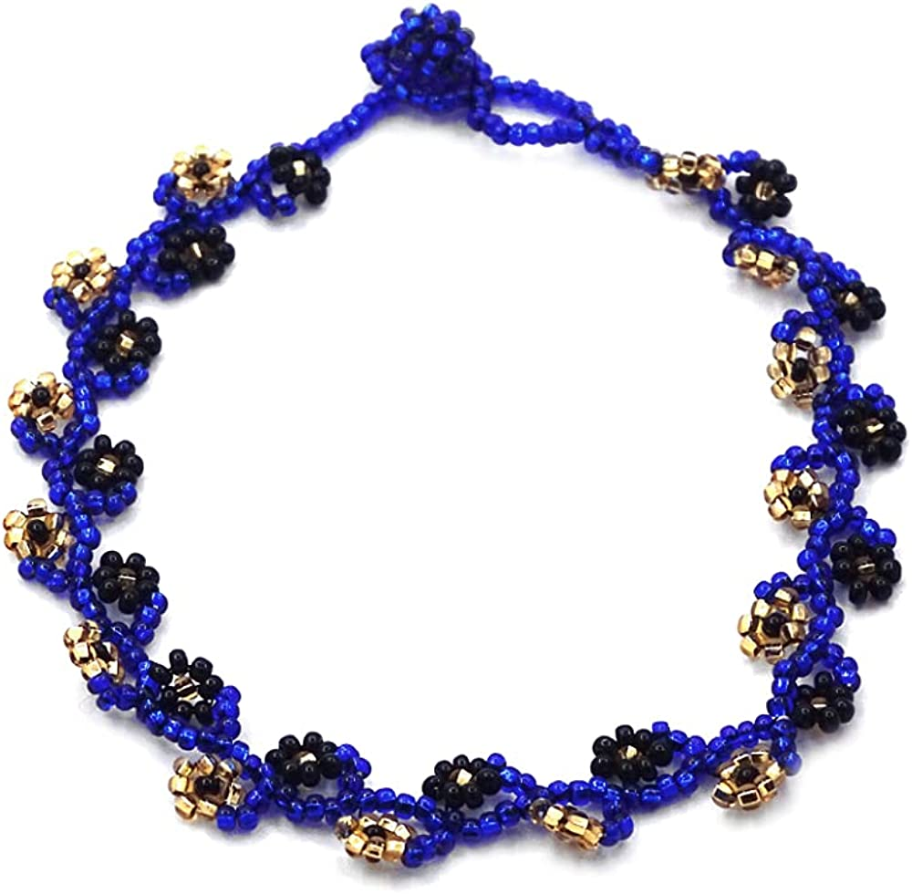 Czech Glass Seed Bead Floral Vine Flower Anklet - Womens Fashion Handmade Beadwork Jewelry Boho Accessories