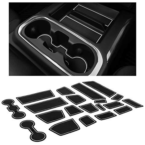 CupHolderHero for Chevy Silverado 1500 and GMC Sierra Accessories 2019-2022 Interior Cup Holder Inserts, Center Console Liner Mats, Door Pocket 24-pc Set (Crew Cab with Bucket Seats) (White Trim)