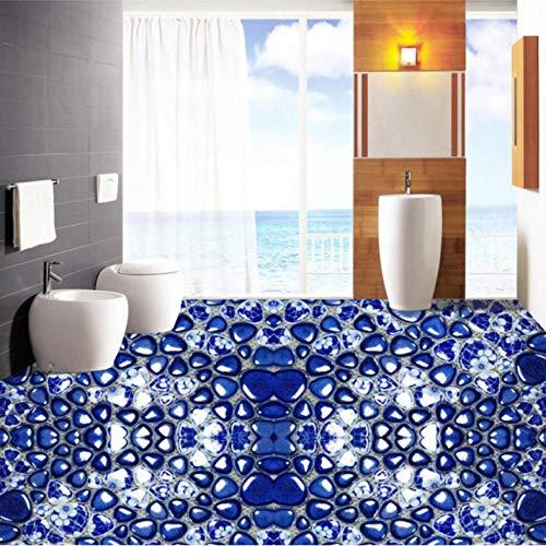 Pbbzl blauwe witte kiezelstenen  3D stereo woonkamer slaapkamer badkamer gang vloerbedekking muurschildering behang 200 x 140 cm.
