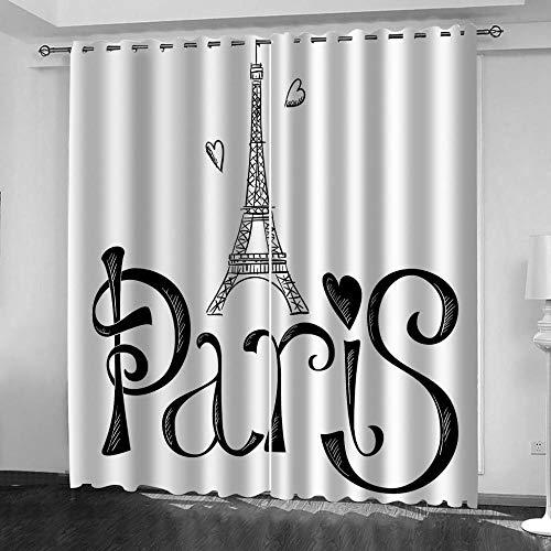 MXYHDZ Cortinas Opacas de Salon - Torre Eiffel en blanco y negro Impresión 3D, Dormitorio Aislantes Termicas con Ollaos - 200 x 160 cm para Oficina y salón, Dormitorio habitación de los niños, 2 Pieza