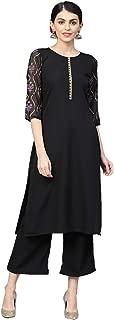 Ziyaa Women's Black Color Foil Print Straight Crepe Kurta With Palazzo / Salwar Suit Set