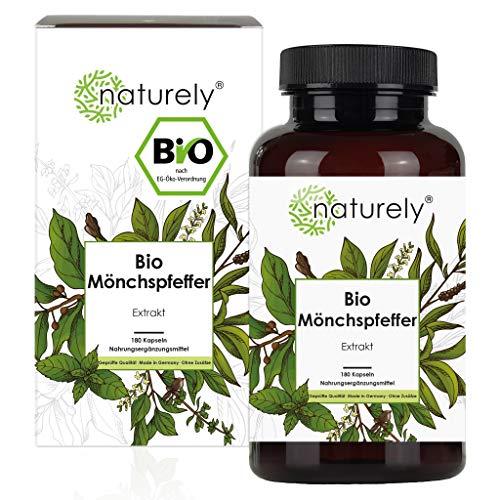 naturely® BIO Mönchspfeffer Extrakt - Einführungspreis - 180 Kapseln - Original Vitex Agnus...