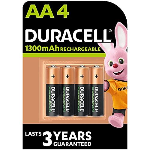 Duracell - Rechargeable AA 1300mAh, Batterie Stilo Ricaricabili 1300 mAh, confezione da 4