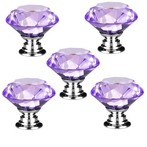5 PCS 30mm Lila Kristallglas Diamant Form Türknauf /MöbelKnopf /Möbelgriffe für Küche Schränke, Kleiderschrank, Kommode, Schublade,Schranktür Schlafzimmer und Badezimmer KinderZimmer Dekor etc.