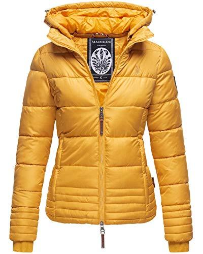 Marikoo Designer Damen Winter Jacke Steppjacke Winterjacke Stepp gesteppt B668 [B668-Sol-Gelb-Gr.L]