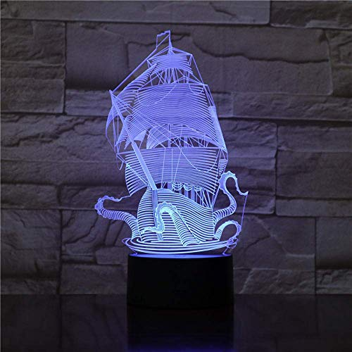 3D Illusion Lamp Led Night Light Fancy Sails Pirates of The Caribbean Gadget Beautiful Gift for Infant for Decorative Visual Desk Lamp Gifts for Children
