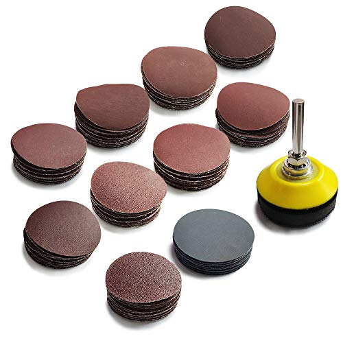 FYSL 100 PCS 2 Inch Sanding Discs Pads 80-3000 Abrasive Polish Pad Plate with 1/4' Shank Backing Plate and Soft Foam Buffering Pad for Drill Grinder Rotary Tool