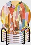 GUVICINIR Juego de 6 Posavasos de cerámica Absorbente con Base de Corcho,Movimiento de cámaras abovedadas por Paul Klee 1915 Dibujo Suizo Acuarela Planos Abstractos Color Brillante