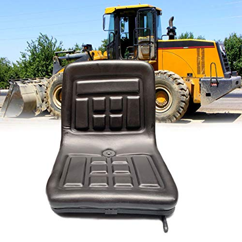 SOFEDY Mower Tractor Seat with Back Rest Fit Most Slidable Waterproof Comfortable Thick-Padded Adjustable for Loader Excavateur Forklift Dozer Seat Steel Frame+PVC