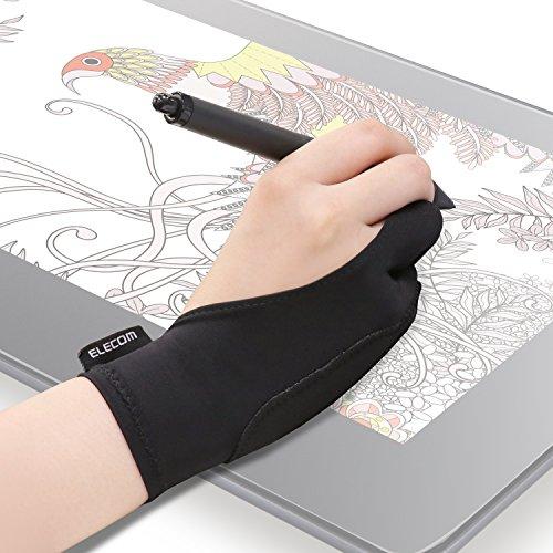エレコム 液晶タブレット グローブ 2本指 手袋 Lサイズ 誤動作防止機能付 液タブ/板タブ/ペンタブ/iPad/スタイラスペン/Apple Pencilの使用に最適 左利き右利き両用 TB-GV2L