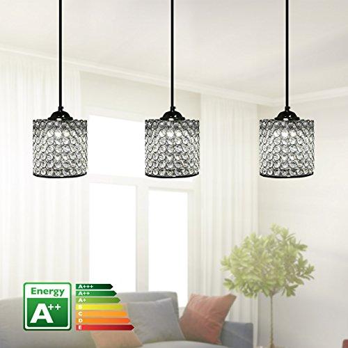 bedibuy Kristall 3'er Deckenleuchte/Tischleuchte LED Handgefertigt 80cm A++ AL-0061 Wohnen - Lüks Kristal 3'lü EL Yapımı LED Avize A++ 80 cm