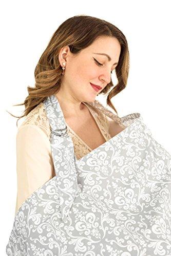 Stillen Abdeckung * 100% Baumwolle * Mit Stäbchen Stilltuch * atmungsaktiv und leicht * Stilvolles & diskret * Aufbewahrungstasche mit - Grau \ weiß Damast
