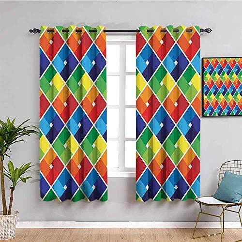 ZLYYH cortina termica Color cuadrado moda rayas. WxH:140x229cm(70x229cm x2 paneles) Cortinas de tela de poliéster resistente cortinas de ventana 3D opacas coloridas para sala de estar dormitorio de of