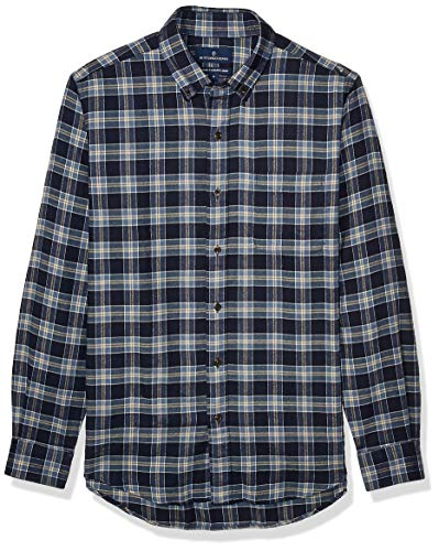 Buttoned Down Tailored Fit Supima Cotton Plaid Flannel Sport button-down-shirts, Navy/Tan, US S (EU S)