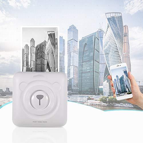 Mini Pocket Imprimante thermique sans fil BT Imprimante thermique Image photo Étiquette Mémo réception papier Imprimante avec câble USB,Blanc