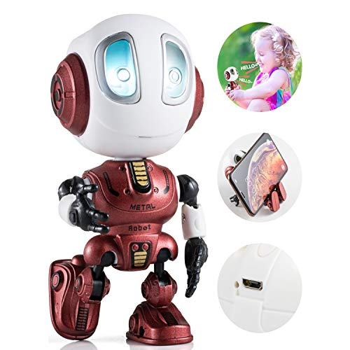 Aubllo Kids Toys Boys Girls Robots Toys Christmas Stocking Stuffers 2020 New Mini Talking Robots Gifts for Adults with 10 Hours Working Time USB Charging LED Eyes Interactive Electronic Toy(Red)