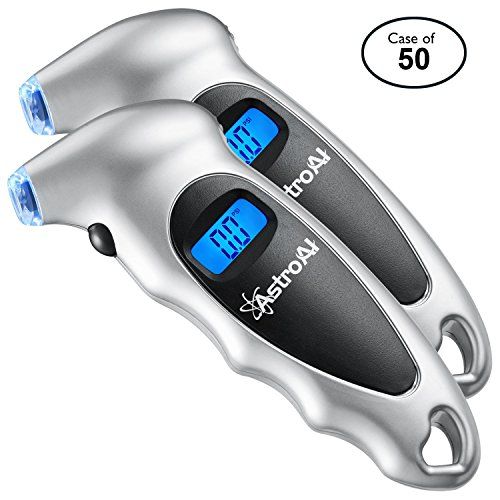 AstroAI Case of 50 Packs, 2/Pack, Digital Tire Pressure Gauge 150 PSI 4 Settings for Car Truck Bicycle with Backlit LCD and Non-Slip Grip, Silver