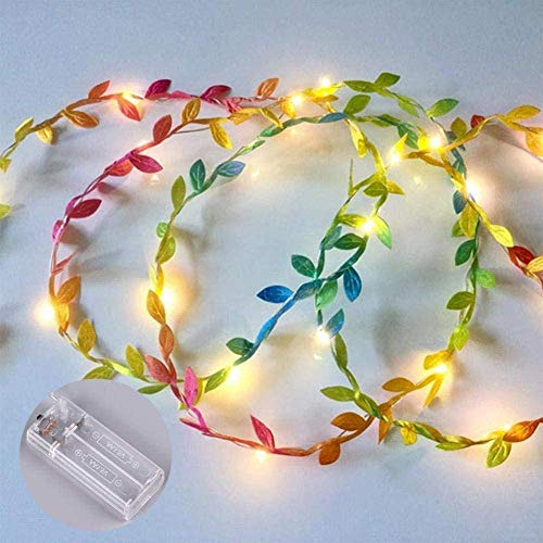 A-Generic Leaf Vine String Lights Vine Fairy Lights LED Battery Operated Copper Wire String Light for Christmas Wedding Party Decor 3M Green-Colorful_2m