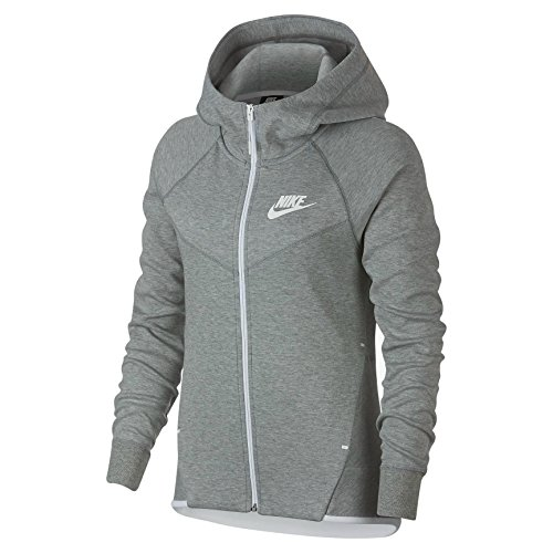 Nike Damen Hoodie Tech Fleece Windrunner Hoodie Full-Zip, dark grey heather/white, L, 930759-063