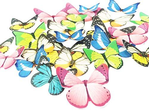 Essbarer Cupcake-Aufsatz mit Schmetterlingsmotiv, für Hochzeitstorte, Geburtstagsparty, Lebensmitteldekoration, verschiedene Größen und Farben, 30 Stück