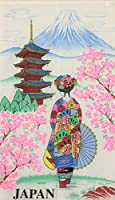 【桜舞妓 白 150㎝丈】のれん おしゃれ 目隠し 仕切り カーテン レース 生地 かわいい かっこいい 日本 ギフト 富士山 五重塔
