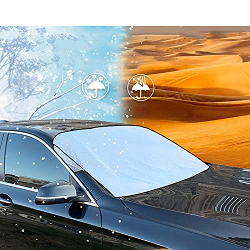Winter Car Windshield Snow Cover, Anti-theft Design Frost Guard Protector Sun Protection Anti-frost Car Sunshades Suitable For Most Cars SUV In All Weather Mahfei (Color : Silver, Size : XL)