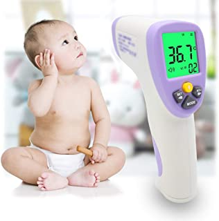 Forehead Thermometer, Non-Contact Infrared Digital Thermometer, Instant Reading Temperature Measurement Device with LCD Screen for Baby, Kids and Adults - FDA Approved
