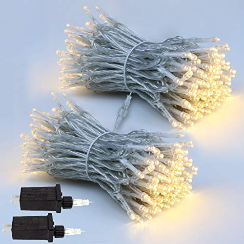 EXF 2-Pack Extendable Christmas Lights, Total 240LED Waterproof Clear Wire String Lights Indoor/Outdoor, 8 Modes Xmas Decorations Lights for Room, Garden, Christmas Tree (Warm White)