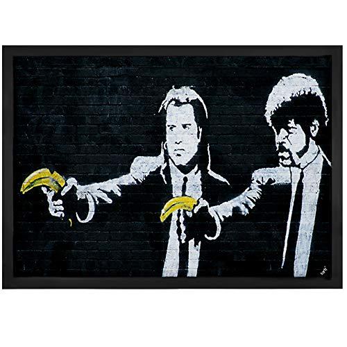 1art1 Banksy - Vincent Y Jules, Pistolas De Plátano Felpudo Alfombra (70 x 50cm)
