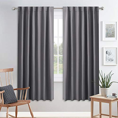 PONY DANCE Blackout Curtains for Bedroom - 72 inches Length Thermal Insulated & Privacy Rod Pocket Curtain Drapes for Kitchen Home Decoration, 52 W x 72 L, Grey, 2 Pieces