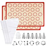 [2 Pack] Silicone Macaron Baking Mat Half Sheet with 6 Piping Tips,6 Cookie Molds,10 Piping Bags and 1 Coupler, Non-Stick Heat Resistant Cooking Bakeware Set (16.5' x 11.6')