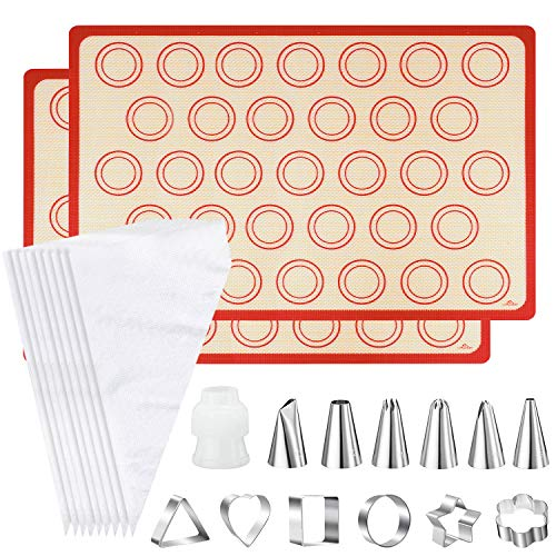 Silicone Baking Mat [2 Pack] with 6 Piping Tips,6 Cookie Molds,10 Piping Bags and 1 Coupler, Non-Stick Heat Resistant Cooking Bakeware Set for Making Macarons,Cookies,Pastry and Pizza (16.5' x 11.6')
