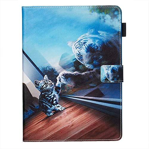Hülle für Samsung Galaxy Tab A 10.1 2019 T510/ T515 PU Leder Case Magnetisch Flip Cover Etui mit Stand Funktion und Kartenschlitz für Samsung Galaxy Tab A 10.1 2019 T510/ T515 Katze im Spiegel