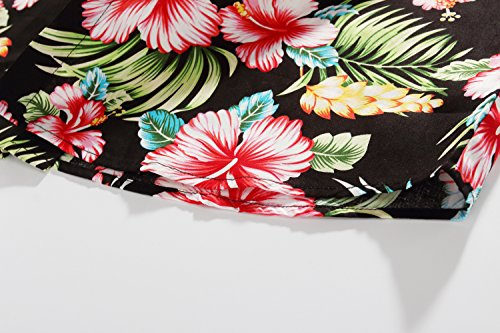 SSLR Men's Flower Casual Button Down Short Sleeve Shirt (Medium, Red Hibiscus)