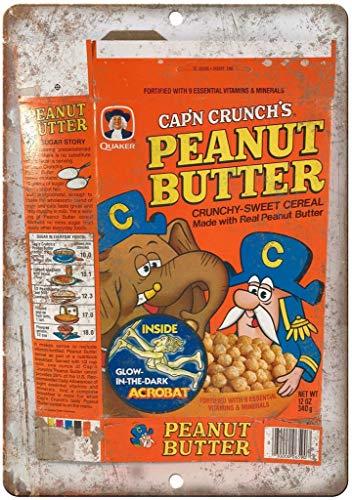 Laurbri Cap'n Crunch Peanut Butter Cereal Box Cartel de Chapa de Metal Cartel de Advertencia Chapa de Hierro Pintura Dormitorio Escuela Pared Aluminio Arte decoración Bar Café