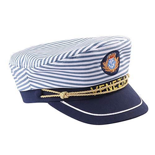 Amosfun Captains Yacht Sailors Hat Blue Stripe Captain Cap Snapback Adjustable Sea Cap Navy Cosplay Costume for Christmas Xmas Supplies