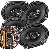 2 Pairs of Pioneer 5x7/ 6x8 Inch 4-Way 350 Watt Car Audio Speakers | TS-A6880F (4 Speakers) + Free EMB Premium Headphone