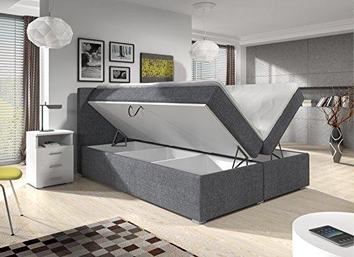 Wohnen-Luxus Boxspringbett 160x200 Grau Stoff mit Bettkasten Visco-Topper 7-Zonen Taschenfederkernmatratze Hotelbett