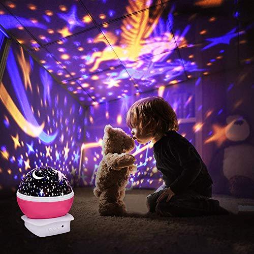 C'estBella Iluminación Infantil Proyector Lampara de Estrellas de 360 Grados Romántica Cosmos Luna de Luz Nocturna Dormitorio Regalos para Niños Bebés...