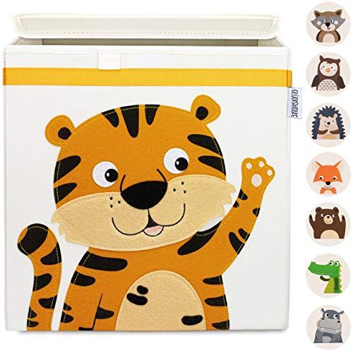 GLÜCKSWOLKE Baúl Juguetes - 10 Motivos I Caja Almacenaje Infantil I Cubos Organizador (33x33x33) Cuarto de Niños I Contenedor Habitacion Niñas I Cesto Dormitorio Bebe (Tigre)