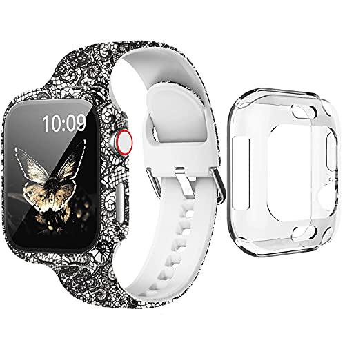 Qeei Fundas con Correa Compatible con Apple Watch Strap 44mm, 3 in 1 SET, Mujer Patrón Impreso Cristal Templado Protector y Correa de Silicona for iWatch Series 6 5 4 SE, Encaje