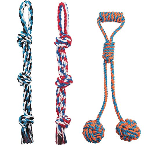 Dog Rope Toys - 3 Pack Durable Interactive Ball Chew Toy for Strong Aggressive Large Dogs