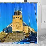 Cortina de ducha de Reino Unido Inglaterra Liverpool Catedral de Viaje Decoración de Baño Set con Ganchos Poliéster 72 x 72 pulgadas (YL-05985)