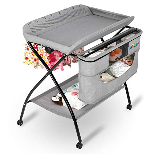 JOYMOR Folding Moblie Diaper Changing Table, Baby Changing Table for Infant, Portable Diaper Changing Station with Wheels, Large Storage Basket & Shelf Portable Nursery Organizer (Grey)