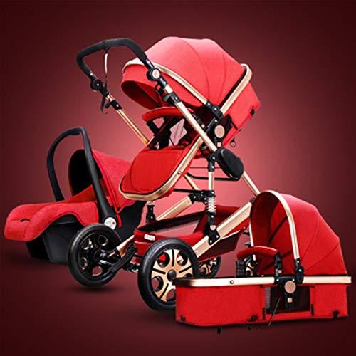 JIAX Cochecito De Bebé De Lujo 3 En 1 con Capazo Separado Cochecito Plegable 360 Grados De Rotación Carro De Bebé Alto Cochecito De Paisaje para Recién Nacidos (Color : Red)